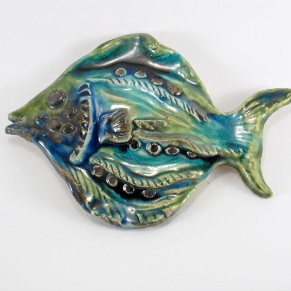Ryba ceramiczna turkusowo zielona