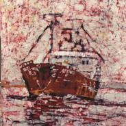 Ametyst - batik na bawełnie - Urszula Dulewicz - fragment