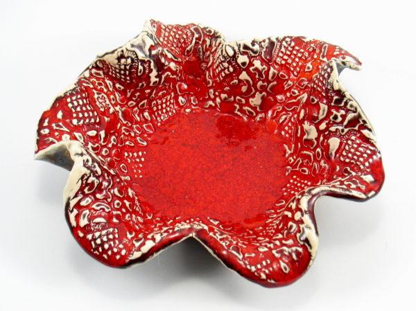 Misa ceramiczna ognistoczerwona , rękodzieło, ozdobne naczynie kuchenne