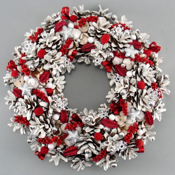 Wianek świąteczny biały z czerwonym