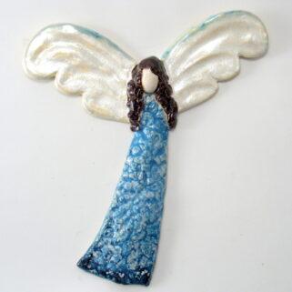 Anioł ceramiczny niebieski