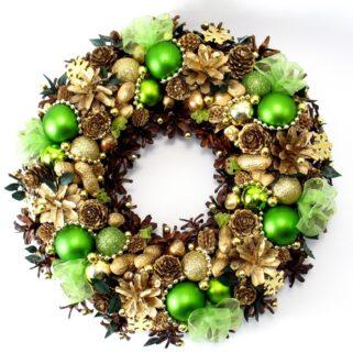 Zielono-złoty wianek świąteczny
