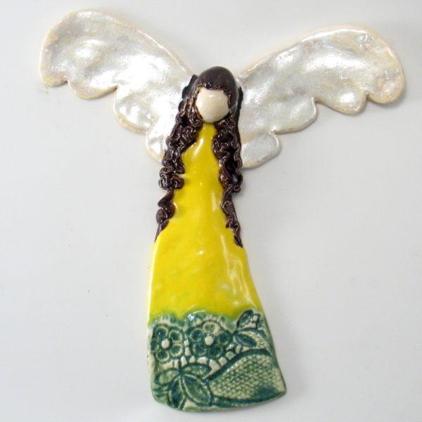 Anioł ceramiczny żółto-zielony