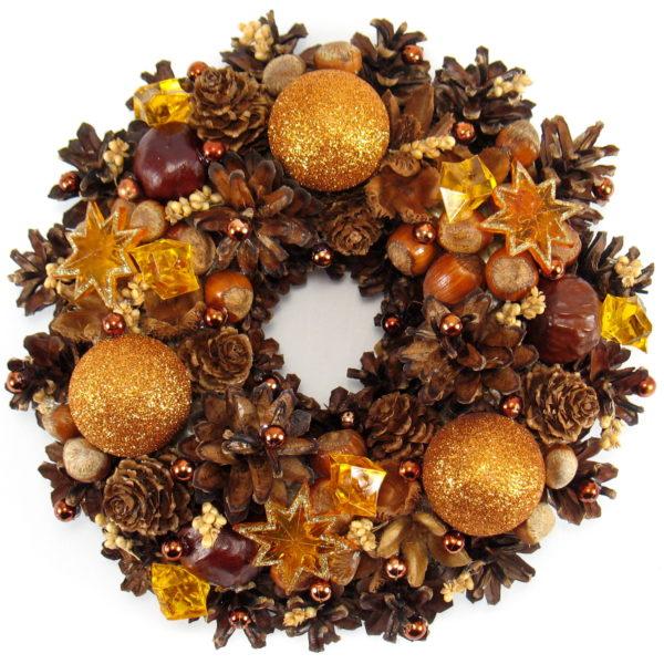 Mały wianek świąteczny brązowo-rudy
