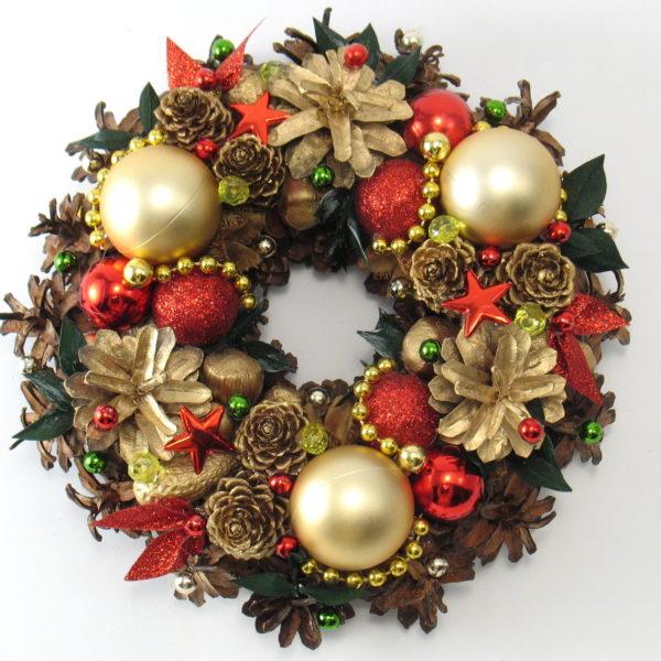 Mały wianek świąteczny złoto-czerwony