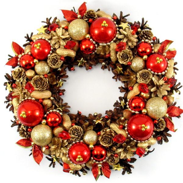 Czerwono-złoty wianek świąteczny