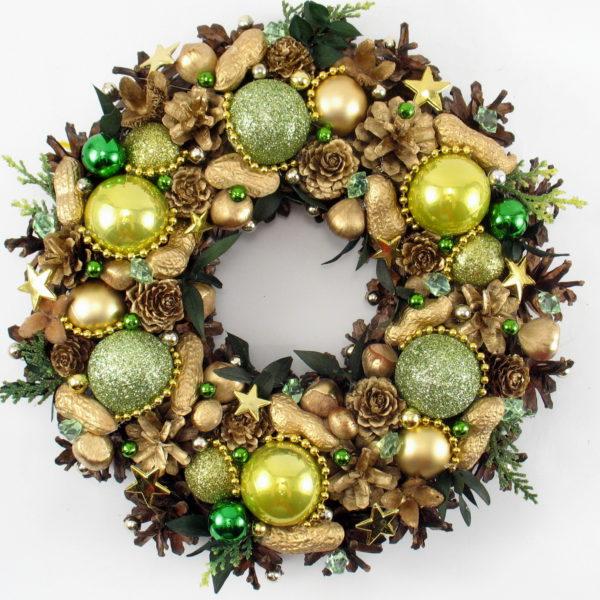 Wianek świąteczny złoto-zielony