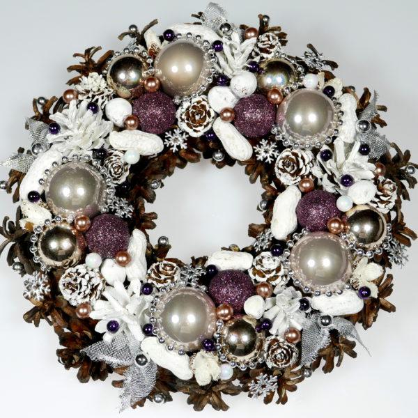 Wianek świąteczny biało-fioletowy