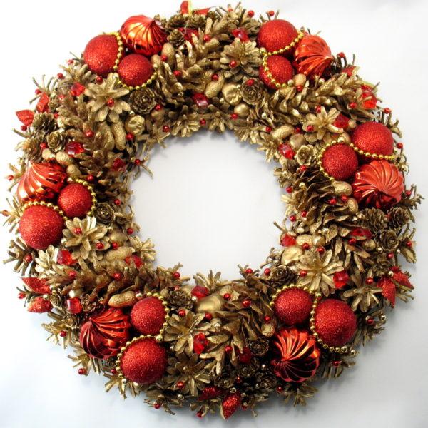 Złoto-czerwony wianek świąteczny XXL