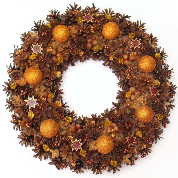 Wieniec świąteczny brązowo-rudy
