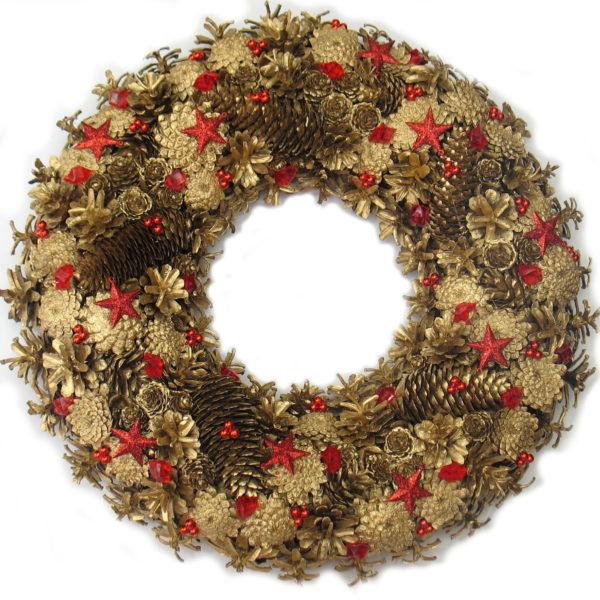 Złoto-czerwony wieniec świąteczny XXL
