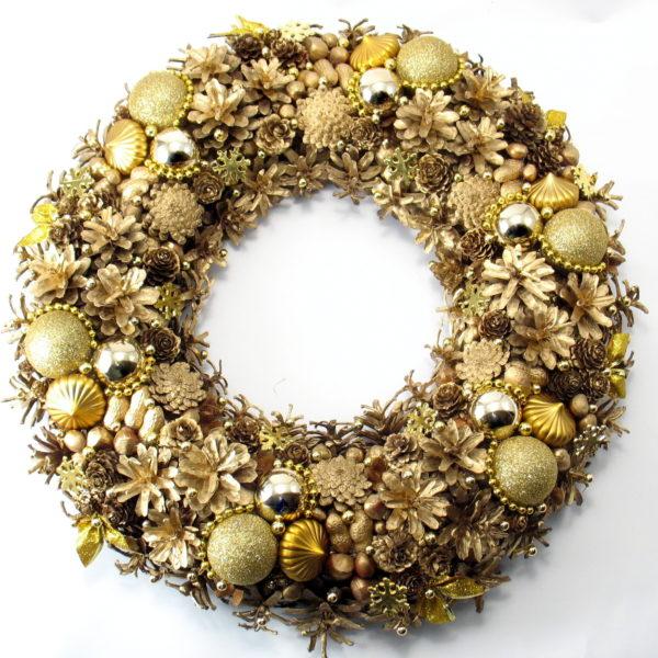 Złoty wianek świąteczny XXL