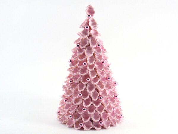 Różowa choinka z makaronu - muszelki - 20-cm