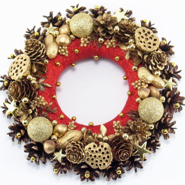 Mały, czerwono-złoty wianek świąteczny