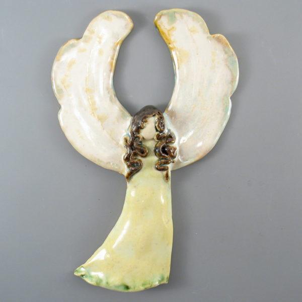 Anioł ceramiczny jasnozielony
