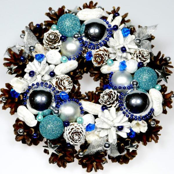 Mały wianek świąteczny srebrno-biało-niebieski