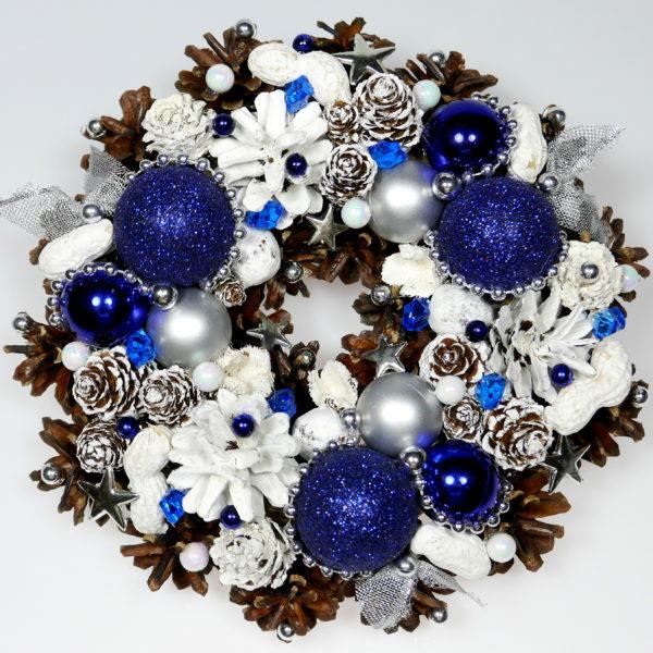Mały wianek świąteczny granatowo-biały