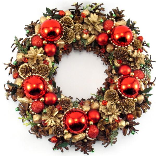 Złoto-czerwony wieniec bożonarodzeniowy