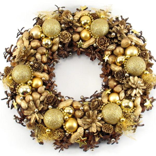 Złoty wianek świąteczny