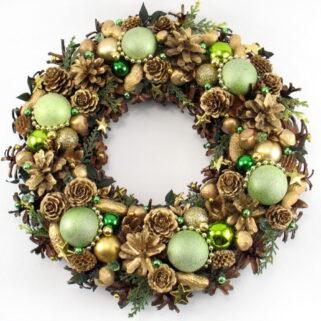 Złoto-zielony wieniec świąteczny
