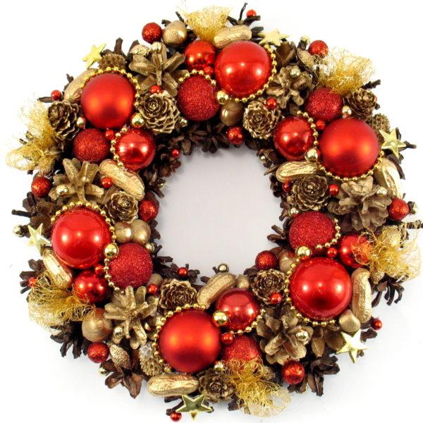 Złoto-czerwony wianek świąteczny