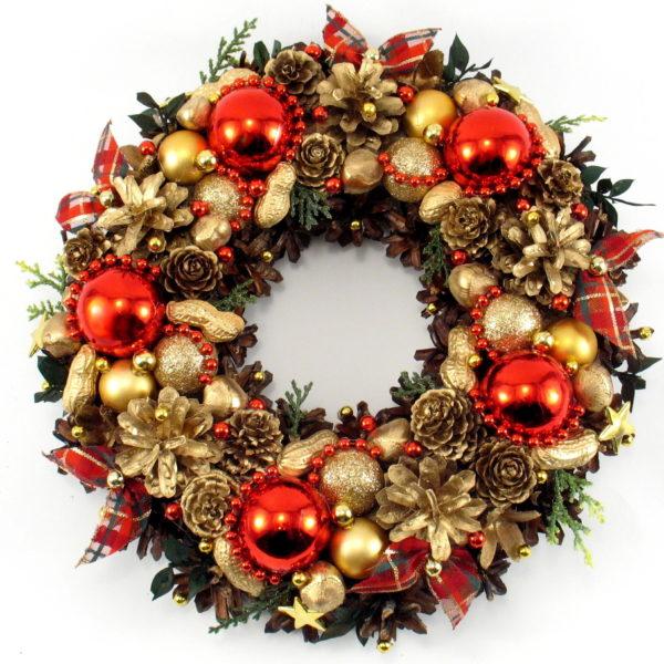 Złoto-czerwony wianek bożonarodzeniowy