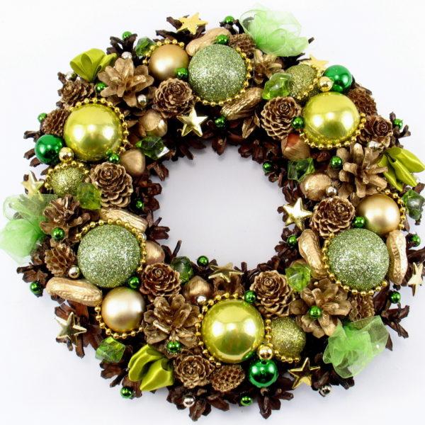 Wianek świąteczny zielono-złoty