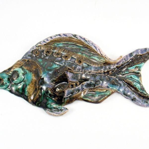 Ryba ceramiczna czarno-zielona