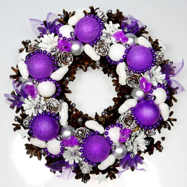 Wianek świąteczny biało-liliowy