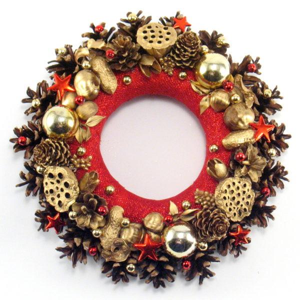 Mały czerwono-złoty wianek bożonarodzeniowy