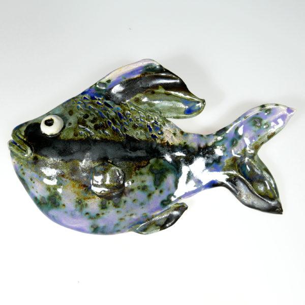 Ryba ceramiczna czarno-fioletowa