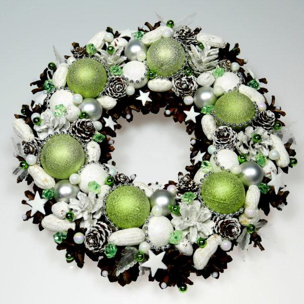 Wianek świąteczny biało-zielony