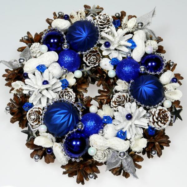 Mały wianek świąteczny biało-granatowy