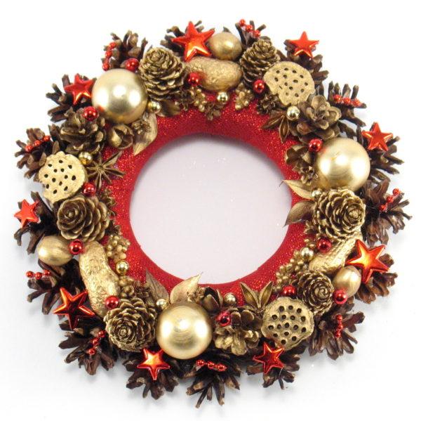 Mały złoto-czerwony wianek bożonarodzeniowy