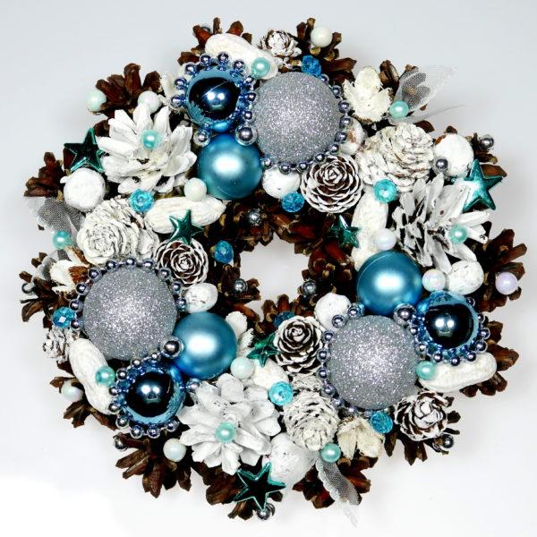 Mały wianek świąteczny niebiesko-biały