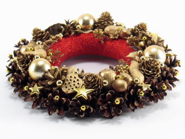 Mały złoto-czerwony wianek świąteczny