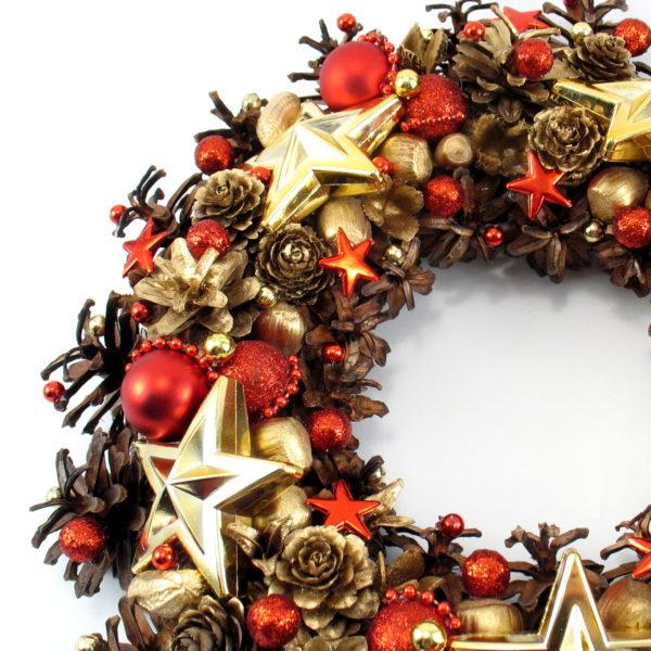 Czerwono-złoty wieniec świąteczny