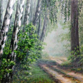 Brzozowy las - Akryl na płycie HDF - Dorota Waberska.