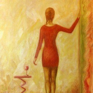 Kobieta i wino - Olej na płótnie -Dorota Waberska