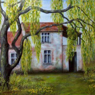 Wiejski dom - Olej na płótnie -Dorota Waberska