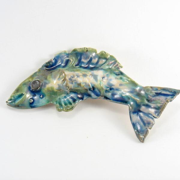 Ryba ceramiczna niebiesko-zielona, uformowana ręcznie z jasnej gliny, oryginalna dekoracja łazienki, pokoju dziecinnego, salonu, doskonały prezent.