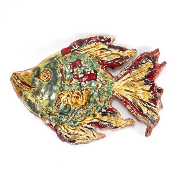 Ryba ceramiczna barwna, uformowana ręcznie z jasnej gliny, oryginalna dekoracja łazienki, pokoju dziecinnego, salonu, doskonały prezent.