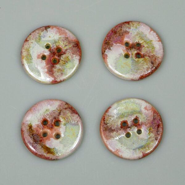 Guzik ceramiczny okrągły biało-różowy