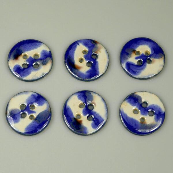Guzik ceramiczny okrągły biało-granatowy