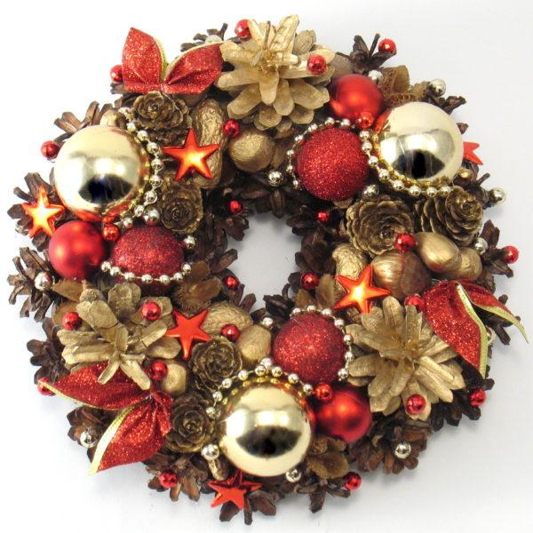 Mały wianek bożonarodzeniowy złoto-czerwony