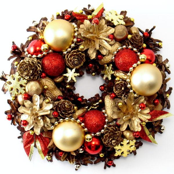 Mały wianek świąteczny złoty z czerwonym