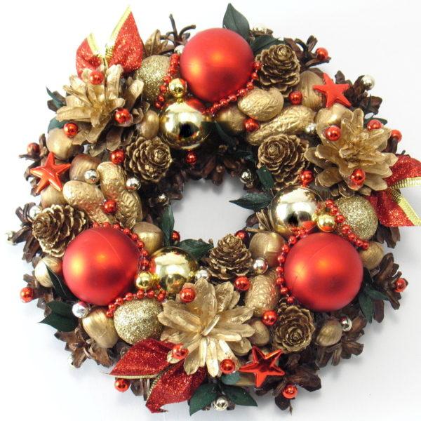 Mały wianek bożonarodzeniowy złoty z czerwonym