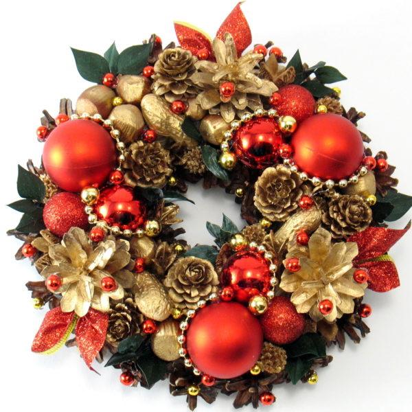 Mały wianek świąteczny czerwono-złoty