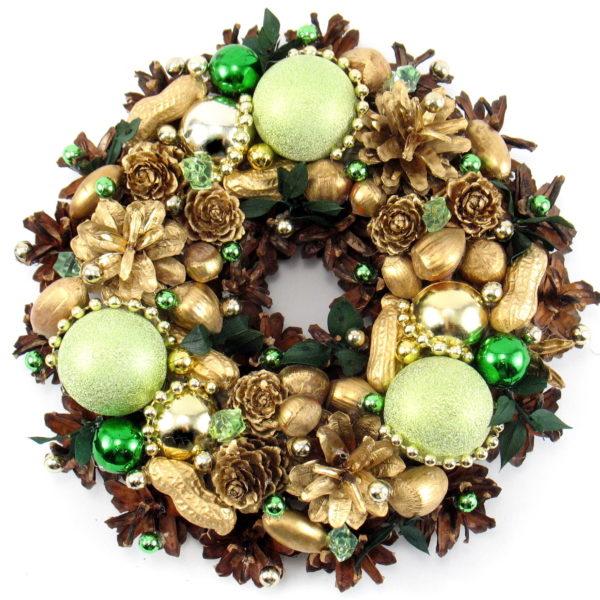 Mały wianek świąteczny złoto-zielony