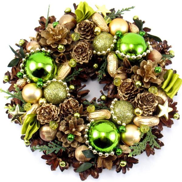 Mały zielono-złoty wianek świąteczny